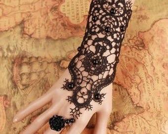 Crochet Lace Rose Charm Strand Bracelet
