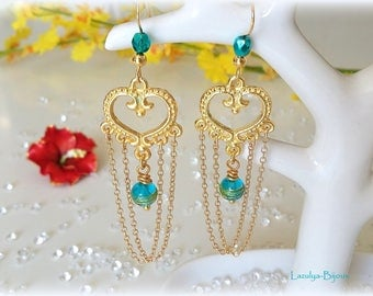 Earrings Lampwork Aquamarine glass & Gold Filled chains striping
