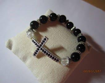 Black rhineston cross stretch bracelet