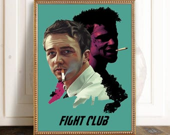 Fight Club poster art, Fight Club print, film print, Fight Club, David Fincher, film poster, movie art, cult movie