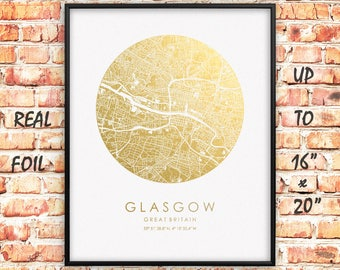 "Glasgow 16""x20"" City Map Gold Print, Real Gold Foil Print, Glasgow Circle Map Poster, Glasgow Print, Great Britain, England, GoldenGraphy"