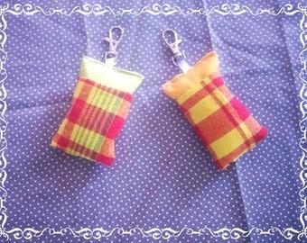 Keychain, duo Keychain Madrass fabric