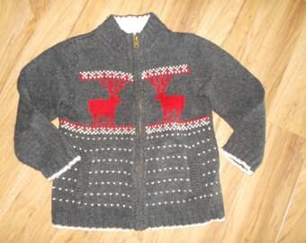 OshKosh, 14, 16, kids, gray, moose, ski, Nordic, ugly Christmas, zip up, sweater, lodge, holiday party, durable, xmas
