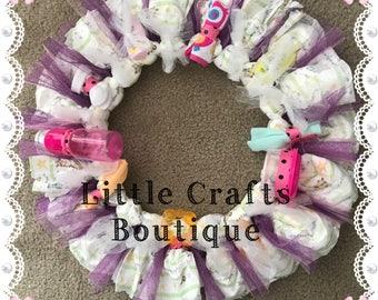 Girls diaper wreath