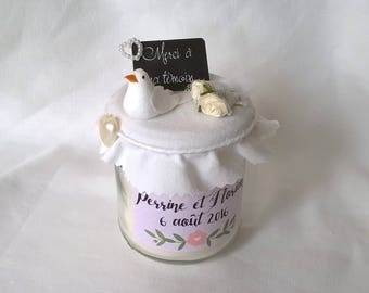 "Candle gift ""Thank you to my light"", or for gifts to guests at the wedding to customize"