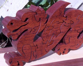 Wooden, Free-Standing Dragon Puzzle