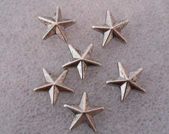 Set of 4 beads antique silver metal star