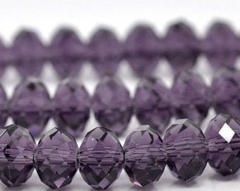 Set of 20 8 x 6 mm purple faceted Crystal beads