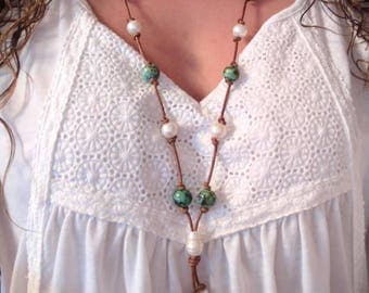 SALE* Natural African Turquoise and Freshwater Pearl, Genuine Brown Leather Knotted Lillian Necklace, New Handmade Jewelry