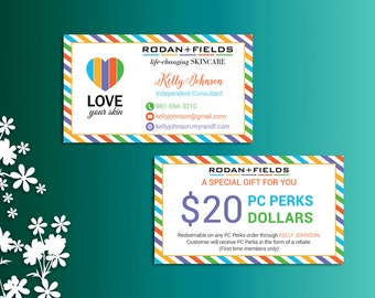 Rodan and Fields PC Perks Dollars, Fast Personalized, Rodan and Fields Business Cards,, Modern Business Cards RF02