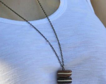 Necklace double caramel chocolate macaroon bow