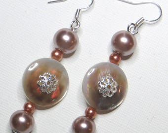 Brown beads - #770 and mother of pearl earrings