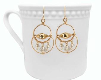 Gold Earrings Dangle, Gold  Hoop Earrings, Egyptian Earrings, Crystal Earrings, Eye Earrings, Handmade Earrings, Yellow Gold Earrings