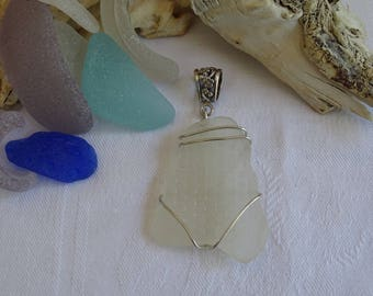 white seaglass tableware pendant