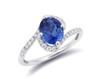Natural Blue Sapphire 1.69 carats set in 14K White Gold Ring with 0.26 carats Diamonds