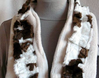scarf faux cow fur and fleece