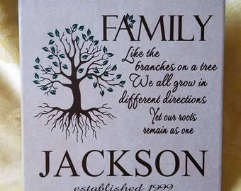 Personalized Tile - Family poem with tree