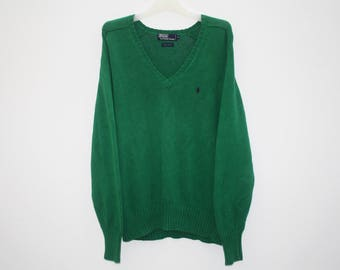 Polo by Ralph Lauren Green Cotton Knitted V Neck Jumper Sweater Pullover Size M