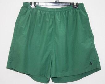 Polo By Ralph Lauren Green Nylon Cotton Sport Shorts Size L