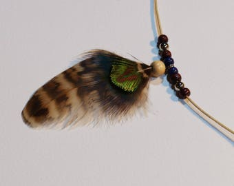 Common pheasant and peacock feathers necklace