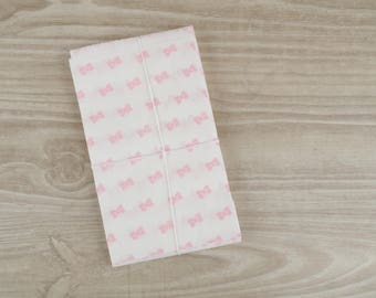Gift bags pastel pink bow - set of 10 - pockets in white paper 9 x 15 cm for jewelry, sweets, candy, storage