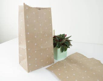 Set of 5 clutch bag with printed white kraft paper bellows star 10 x 20 x 7 cm for gifts, jewelry.