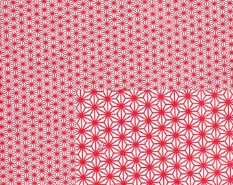 Japanese paper 42.5x29 cm Chiyogami red and white geometric pattern, stars