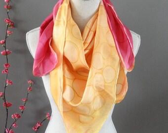 Woman pink, orange silk scarf - hand painted large silk scarf