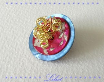 Brooch original fuchsia, blue and gold