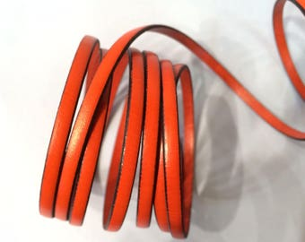 Orange leather 5x2mm for creations of jewels