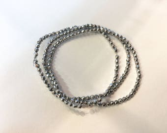 Pearl faceted Hematite 2.30 mm silver for jewellery designs