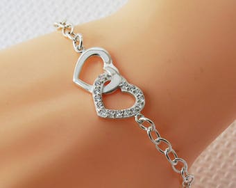 Sterling Silver Heart Charm Bracelet, Silver Double Heart Bracelet, Bridal Bracelet, Silver Heart Bracelet, Infinity Heart Bracelet,
