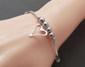 Silver Bead Bracelet, Sterling Silver Gift for Her, Thin Silver Stacking Bracelet, Silver heart Charm Bracelet, Christmas  Gift Bracelet