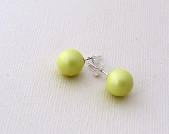 Pastel Yellow Pearl Studs, Swarovski Yellow  Bridal Earrings, Pale Yellow Pearl Studs, Bridesmaid Earrings, Bridesmaid Gift, Wedding Jewelry