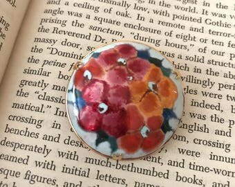 Floral Muilticolor Round Vintage Brooch