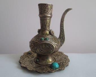 Small vase, Antique cannula,Bronze figures, Vintage bronze decorative vase, Decorated cannula and dish, Vintage home decor, Retro decoration