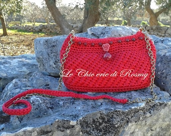 Purple clutch bag crochet bag