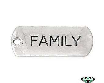 x 1 FAMILY silver pendant charm