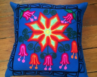 Blue and colourful cushion cover, Artisan, bohoo, pillow, south american embroided, peruvian wool.