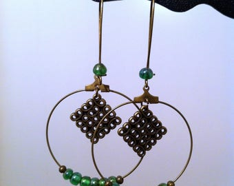 Creole earrings in bronze and green