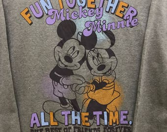 Rare!!! Disney Sweatshirt With Mickey And Minnie Big Picture Pullover Spellout Multicolors