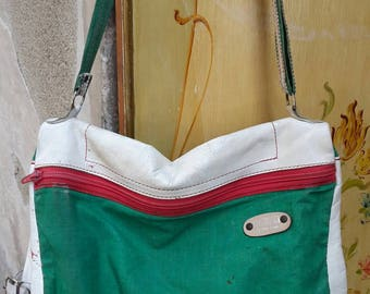 Sergio Pucci fabric and leather shoulder bag