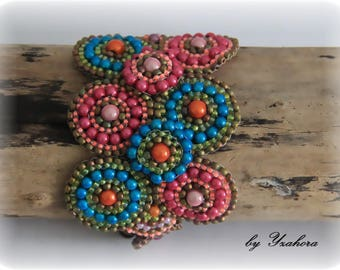 Bracelet Vaness Fuchsia and turquoise well-rounded