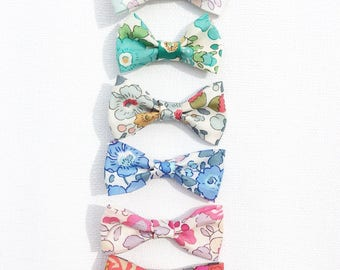 SET of 5 fabric bow barrettes liberty betsy