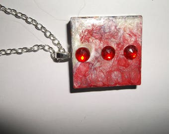 square resin pendant necklace