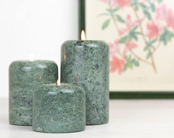 Set of three green marble waxinelichthouders