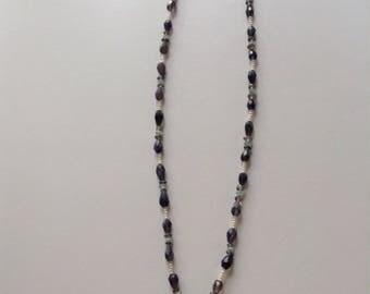 Iolite, Chalcedony, & Smoky Quartz Handmade Necklace w/Rose Quartz Pendant