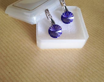 Violet color Swarovski crystal earrings