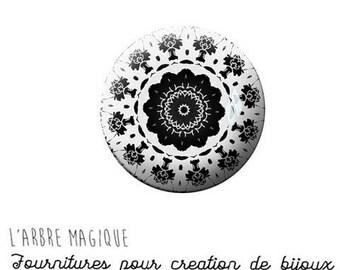 2 cabochons glue black-and-white ref 1173 mantra Mandala - 18 mm