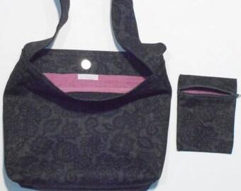 Purse + grey/pink fabric Pocket